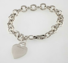Tiffany & Co. Sterling Silver Blank Heart Tag Charm Bracelet Retails for - $228.64