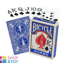 BICYCLE RIDER BACK JUMBO PLAYING POKER CARDS DECK BLUE MADE IN USA ORIGI... - $5.43
