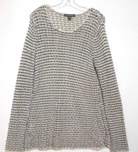 Tommy Bahama White Silver Gray Mesh Knit Large Long Sleeve Cotton Sweate... - $11.72