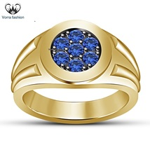 Seven Stone Round Cut Blue Sapphire 14k Yellow Gold Plated 925 Silver Me... - $89.99