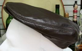 Henschel Brown Leather Cap Size Medium - $14.80