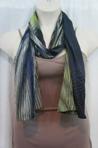 Echo Design Scarf Sz OS One Size Blue Grey Multi Color Polyester Scarf 7... - $14.27
