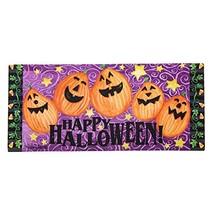 Evergreen Easy-to-Clean Happy Halloween Jack-o-Lantern Holiday Sassafras... - $28.89