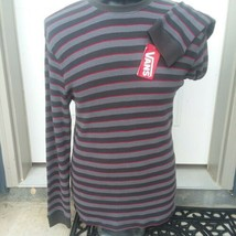 Vans Pullover Striped Shirt Men's Size XL Long Sleeves Gray and Red Banded Knit - $31.79