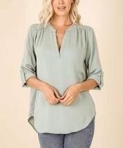 Lydiane Women's Button Notch Neck Roll-Sleeve Hi-Low Top (Light Green, L) - $20.05