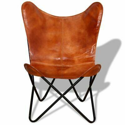 vidaXL Butterfly Chair Vintage Real Leather Brown Hide Sleeper Seat Lounge image 2