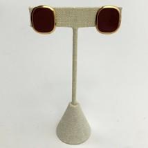 Napier Enamel Clip On Screw Back Earrings Vintage Plum Burgundy Gold Ton... - $14.80