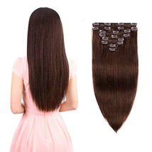 Real Clip in Hair Extensions Medium Brown 8 Pieces - Premium Women Straight Doub