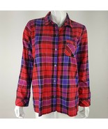 Victoria Secret Womens Small Red Purple Shimmery Plaid Button Up Sleep S... - $16.82