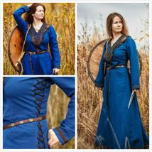 Medieval Blue Linen Dress Renaissance Dress  - $159.00