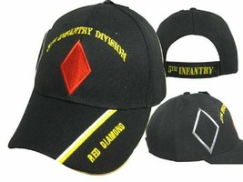 US Army 5th Infantry Red Diamond Military Black Embroidered Cap - $21.77