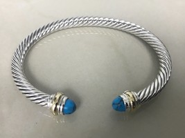 David Yurman Sterling Silver 925 / 14k Gold Turquoise 5mm Cable Classic Bracelet - $289.99