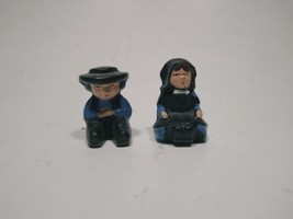 Vintage Mint Cast or Lead Hand Painted Amish Boy Girl Sitting  Male Female - $14.01