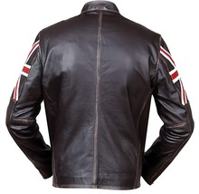 Cafe Racer Biker UK Flag Patch Distressed Brown Synthetic Leather Jacket image 3
