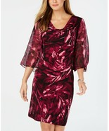 Connected Apparel Abstract Printed Chiffon-Sleeve Drape Neck Shift Dress... - $22.08