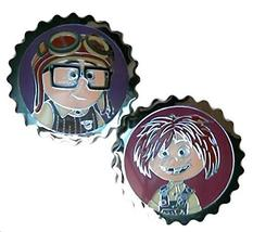 Authentic Disney Pixar New 2014 Up Young Carl and Ellie Bottle Caps - 2 Pin Set - $18.79