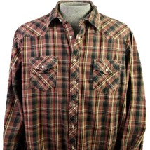 Wrangler Wrancher Pearl Snap Flannel Mens 2XT Plaid Brown Western Shirt - $25.46