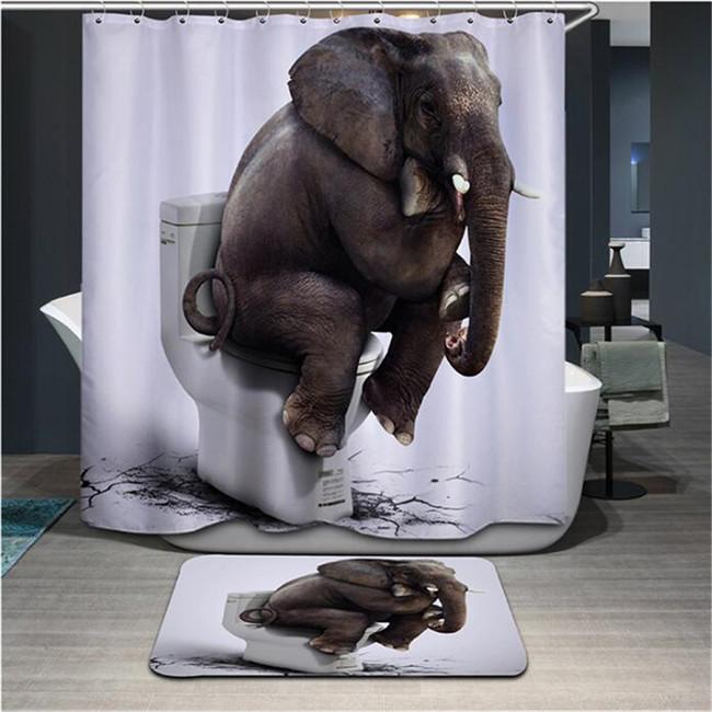 Fabric Animals leopard Shower Curtain Home Bathroom Curtains 3d elephant bear pe image 6