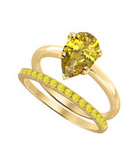 Pear Cut Yellow Sapphire 14k Yellow Gold Over 925 Silver Engagement Brid... - $69.35
