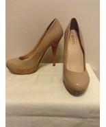 Guess Karise Beige Faux Patent Leather Platform Pumps Shoes w/ Cork Heel... - $18.95