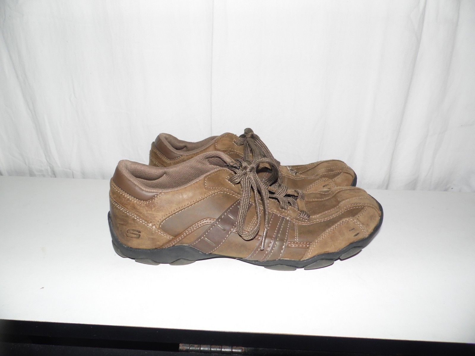 Skechers Leather Brown Casual Sneakers Shoes 62607 Size 10.5