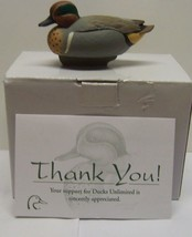 Jett Brunet Ducks Unlimited Miniature Decoy Green Wing Teal LIMITED EDIT... - $23.98