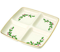 Lenox Holiday 4 Section Divided Dish Square Server Holly Berry Motif New In Box - $34.90