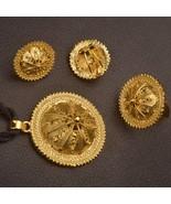 Anniyo Ethiopian Wedding Jewelry Set Pendant Rope/clip Earring/ring Gold... - $13.70