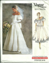Vogue 2179 Bridal Original Pattern '80s Boned Bodice Wedding Bridesmaid Dress UC - $14.99