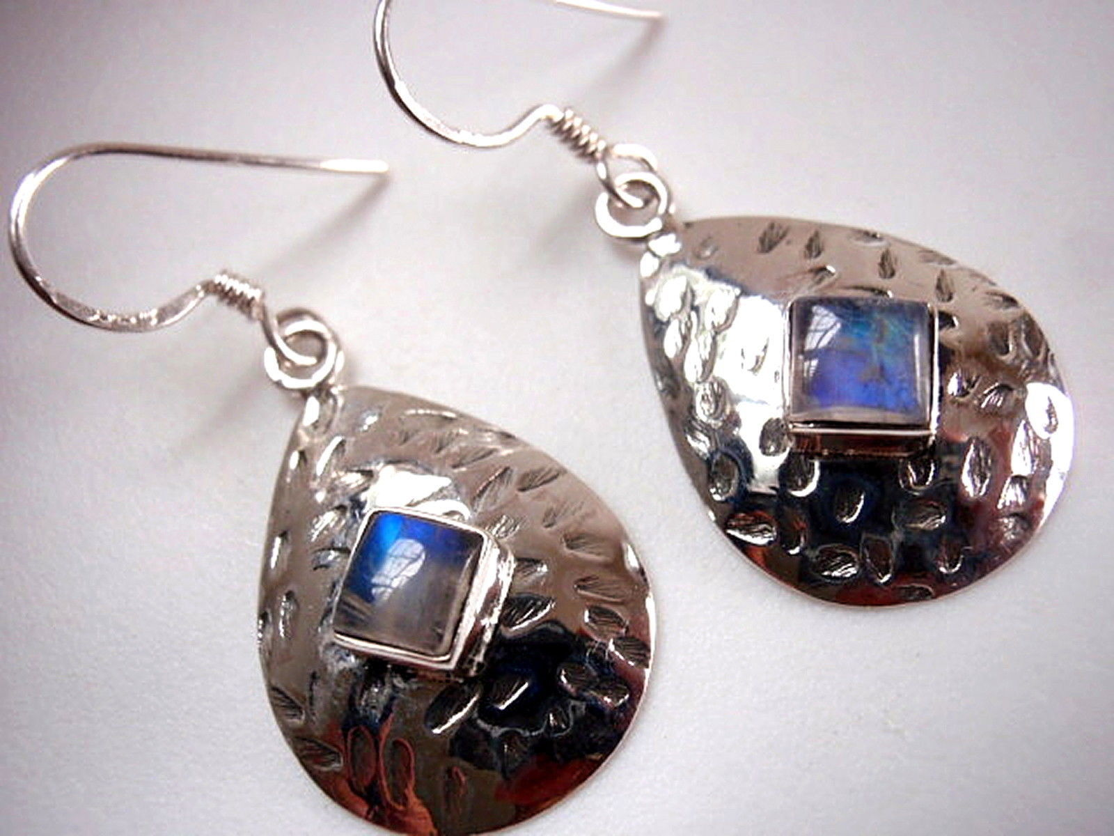 Primary image for Rainbow Moonstone Hammered Teardrop 925 Sterling Silver Dangle Earrings New