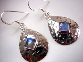 Rainbow Moonstone Hammered Teardrop 925 Sterling Silver Dangle Earrings New - $31.64