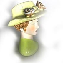 Vintage Ceramic Hat Lady Head Bust Figurine 40s 50s 60s - $19.34