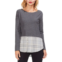 Vince Camuto Womens Plaid Heathered Tunic Top - £42.43 GBP