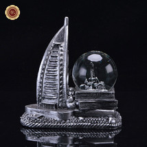WR Snow Globe Resin UAE DuBai Burj Al Arab Hotel Crystal Snowdome Novelt... - $21.10