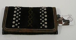 American West River Rock Collection Tri-fold Leather Wallet Black Clutch... - $97.02