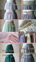 LIGHT GREEN Elastic High Waist Tulle Skirt Green Wedding Bridesmaid Tulle Skirts image 8
