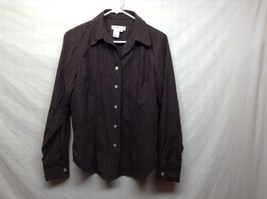 Coldwater Creek Long Sleeve Brown Button Up Collared Shirt Sz S
