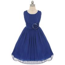 Royal Blue Round Neck Yoryu Chiffon Flower Girl Dresses Birthday Pageant... - £27.32 GBP+