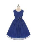 Royal Blue Round Neck Yoryu Chiffon Flower Girl Dresses Birthday Pageant... - $36.00+