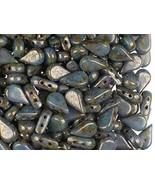50 pcs Amos par Puca Beads 5x8 mm, 2 Holes, Opaque Aqua Deep Gold, Czech... - $15.04