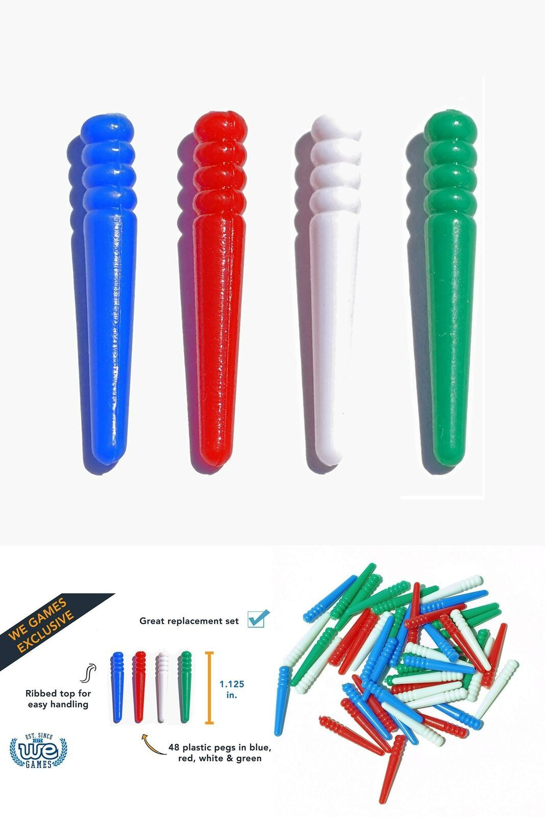 Primary image for 48 Pieces Board Game Cribbage Pegs Fit Most Board Holes Bulk Set 4 Color Plastic
