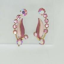 Vintage Pink Enamel & AB Crystal Earrings Foil Screw Back - $24.74