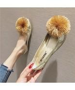 Sequin Golden Ballet Flats Slippers Shoes Evening flats Party Wedding Flats - £31.79 GBP