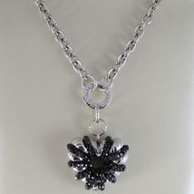 925 STERLING SILVER NECKLACE WITH SPINEL FINELY WORKED BIG HEART PENDANT, ITALY image 3