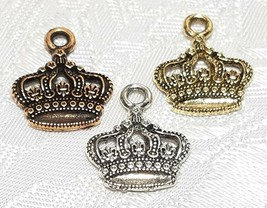 KING'S CROWN FINE PEWTER PENDANT CHARM - 15x18x2mm