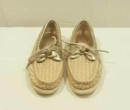 SPERRY TOP SIDER GOLD Deck LOAFERS Woven LEATHER Boat Shoes Womens Size 7 M - $20.68