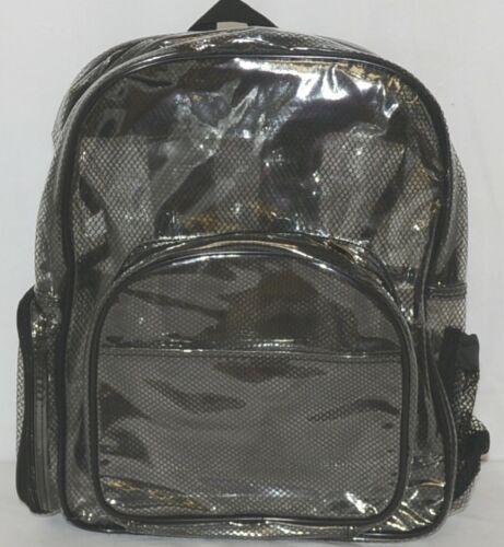 Unbranded Item Clear Netted Backpack Black Trim Medium Five Pockets