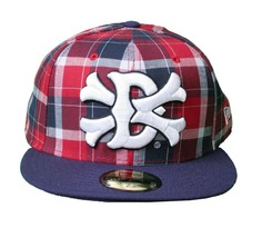 Dissizit Dx11 Bones Navy Red Plaid New Era 59FIFTY Fitted Baseball Hat Cap NWT