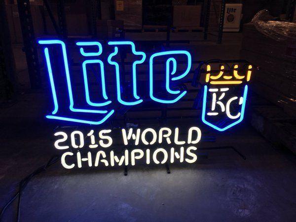 "New Miller Lite Kansas City Royals 2015 World Champions Neon Sign 24""x20"""