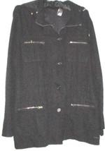 Women's Black Zip Hood Cargo Jacket Size L Liz Claiborne - $28.00